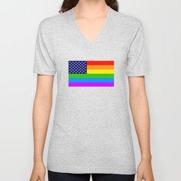 Gay USA Rainbow Flag - American LGBT Stars and Stripes Unisex V-Neck