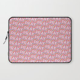 'Pray' Trendy Rainbow Text Pattern (Pink) Laptop Sleeve