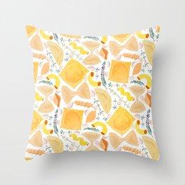 Pasta Pattern on White Throw Pillow