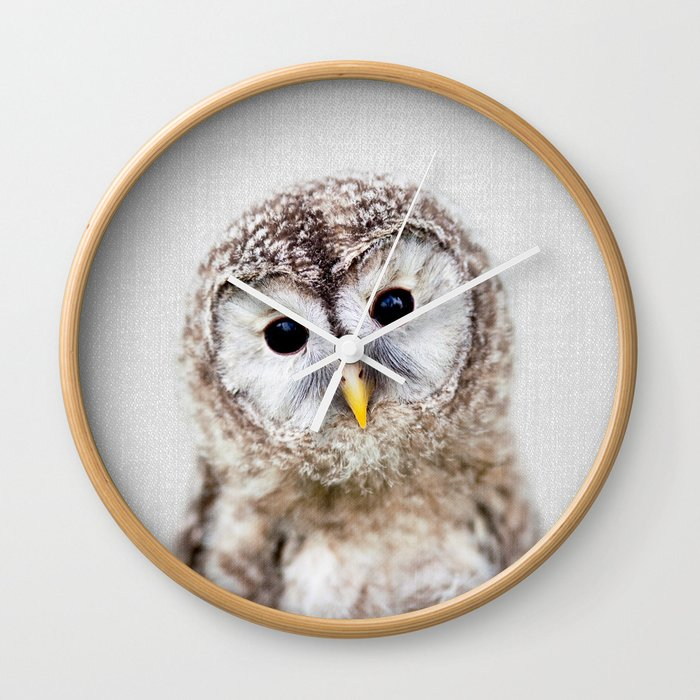 Baby Owl - Colorful Wall Clock