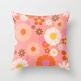 Groovy 60's Mod Flower Power Throw Pillow