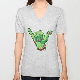 Shakah Brah Hang Loose Undead Zombie Hand Halloween print Unisex V-Neck