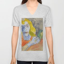 cool woman with cell phone Unisex V-Neck
