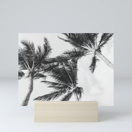 Black and White Hawaiian Palm Trees Mini Art Print