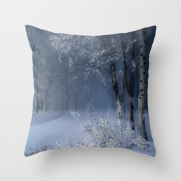 Blue Snow Forest Throw Pillow