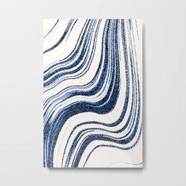 Textured Marble - Indigo Blue Metal Print