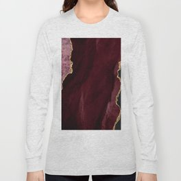 Agate, Burgundy Pink Faux Gold Long Sleeve T-shirt