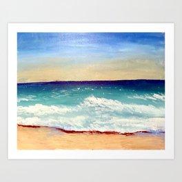 Ocean at Sunrise original acrylic painting on canvas panel Art Print