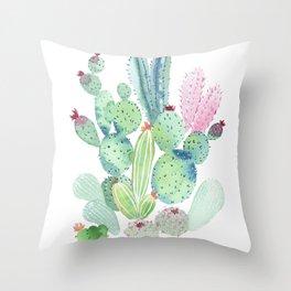 Watercolor Cactus light Throw Pillow