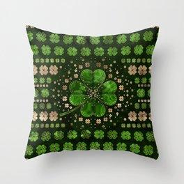 Irish Shamrock Four-leaf clover Malachite and gold Throw Pillow