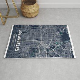Los Angeles Blue Dark Color City Map Rug