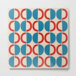 Mid Century Modern Half Circle Pattern 528 Beige Red and Cyan Metal Print