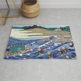 Hokusai -36 views of the Fuji 45 The Fuji from Kanaya on the Tokaido Rug