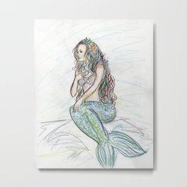Little Mermaid Folk Tale Colored Pencil Art Drawing Metal Print