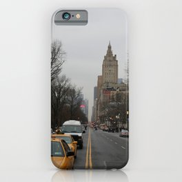 Grey New York City Street with Yellow Cab iPhone Case