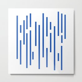Minimalist Lines – Blue Metal Print