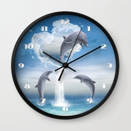 The Heart Of The Dolphins Wall Clock