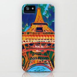France Tour Eiffel Artistic Illustration Bipolar Painting iPhone Case