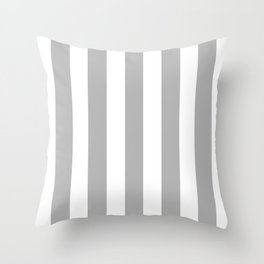 Philippine silver grey - solid color - white vertical lines pattern Throw Pillow