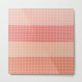 Peachy Stripes Metal Print