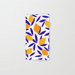 Blue and yellow Lemon Summery Pattern Hand & Bath Towel