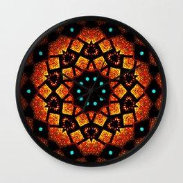 Bright Red Orange Mosaic Kaleidoscope Mandala Wall Clock
