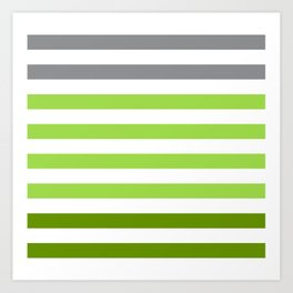 Stripes Gradient - Green Art Print