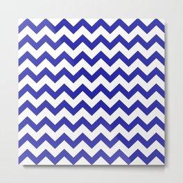 Chevron (Navy & White Pattern) Metal Print