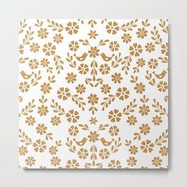 Golden floral symmetric birds heart Metal Print
