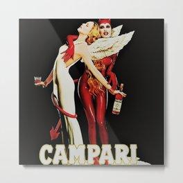 Vintage Campari Italian Bitters Aperitif Angel and Devil Advertisement Poster Metal Print