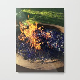 Fire on Blue Metal Print