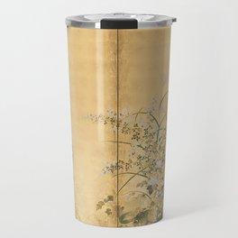 Japanese Edo Period Six-Panel Gold Leaf Screen - Spring and Autumn Flowers Travel Mug