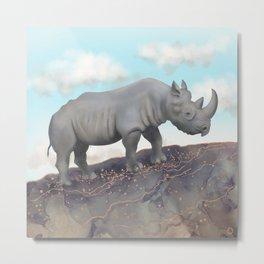 Black Rhino - African Safari Wildlife  Metal Print