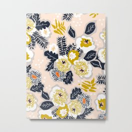 Modern nordic flowers greet you Metal Print