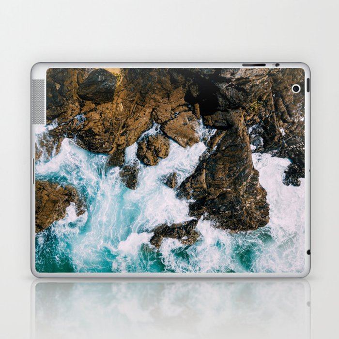 Ocean Waves Crushing On Rocky Landscape, Drone Photography, Aerial Landscape Photo, Ocean Wall Art Laptop & iPad Skin