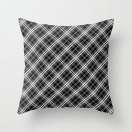 Black and White Mayzes Tartan Plaid Check Throw Pillow