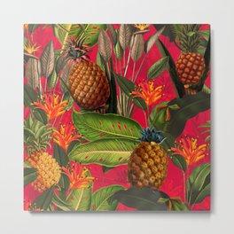 Vintage & Shabby Chic - Hot Summer Pineapple Tropical Flower Garden Metal Print