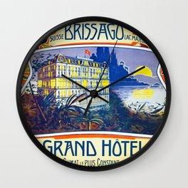 1905 Grand Hotel Isole di Brissago Ticino, Switzerland Advertisement Poster Wall Clock