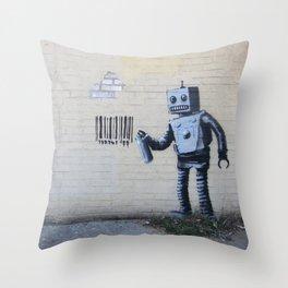 Banksy Robot (Coney Island, NYC) Throw Pillow