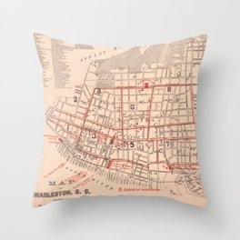 Vintage Map of Charleston South Carolina (1890) Throw Pillow