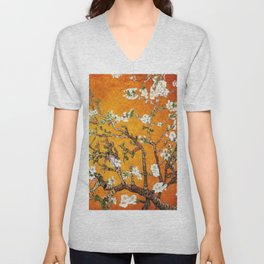Vincent van Gogh Blossoming Almond Tree (Almond Blossoms) Orange Sky Unisex V-Neck