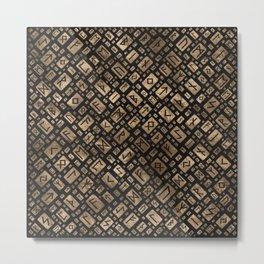 Elder Runes - Futhark Pattern Gold on Black Wood #1 Metal Print
