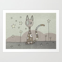 Brown Night-Cat Art Print