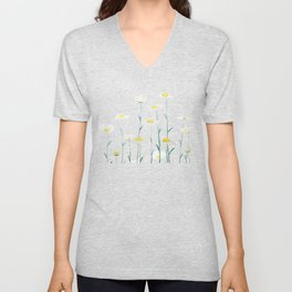 white daisy watercolor horizontal Unisex V-Neck