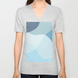 Modern Abstract Shapes in Blue Unisex V-Neck