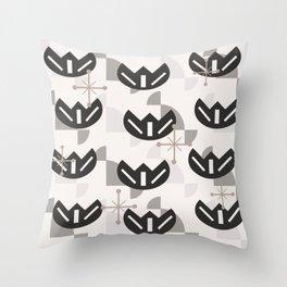 Atomic Era Funky Flowers (Silver) Throw Pillow