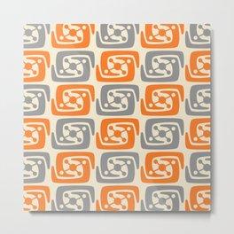 Mid Century Modern Galaxy Pattern 131 Orange and Gray Metal Print