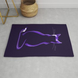 Sitting Cat from behind in Purple Rug