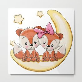 Foxes Over the Moon Metal Print