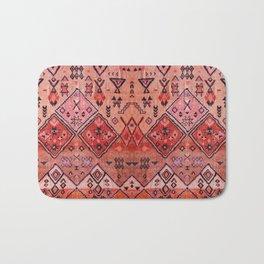 N52 - Pink & Orange Antique Oriental Traditional Moroccan Style Artwork Bath Mat